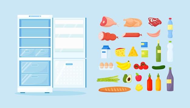 Frigorifero vuoto aperto con cibo sano diverso. frigo in cucina, congelatore con carne su ripiani