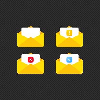Busta aperta e documento con segno di spunta, croce e punto esclamativo.