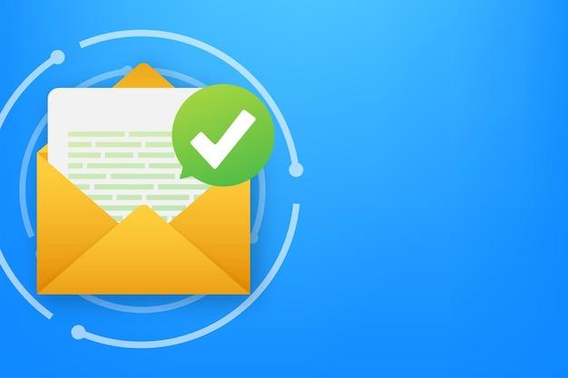 Busta aperta e documento con segno di spunta verde. e-mail di verifica. illustrazione vettoriale.