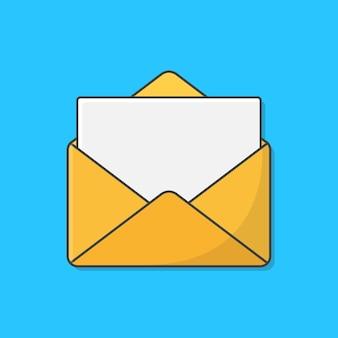 Busta aperta con carta di carta di nota