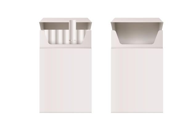 Modello di pacchetto di sigarette pieno e vuoto aperto isolato su bianco