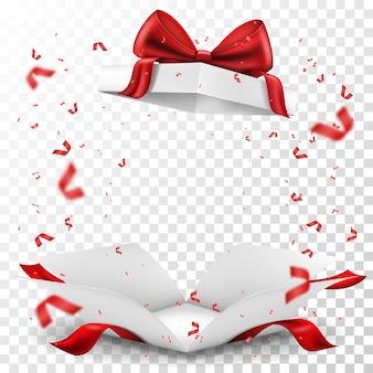 Confezione regalo aperta con fiocco rosso e serpentina su sfondo trasparente