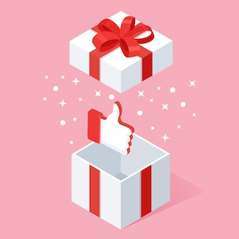 Confezione regalo aperta con il pollice in alto isolato su sfondo bianco.