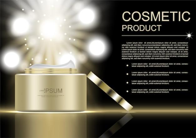 Vaso cosmetico aperto d'oro con luci brillanti