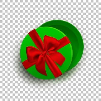 Scatola regalo vuota verde aperta con nastro rosso e fiocco isolato su sfondo trasparente vista dall'alto