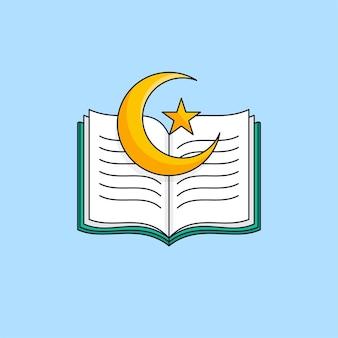 Aperto il libro sacro del corano con l'illustrazione islamica del simbolo della luna crescente della stella
