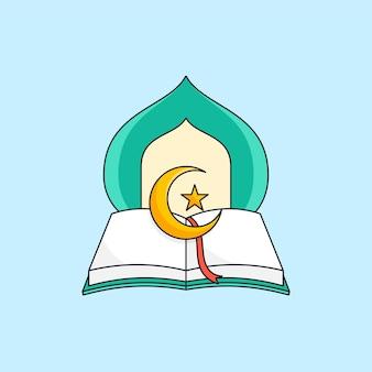 Aperto il libro sacro islamico del corano con l'illustrazione della cupola della moschea per il logo della fondazione per l'educazione musulmana