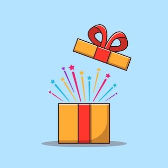 Contenitore di regalo di sorpresa aperto con l'illustrazione del fumetto di stile piano della stella
