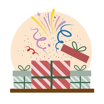 Apertura di regali festa evento coriandoli celebrazione fumetto illustrazione
