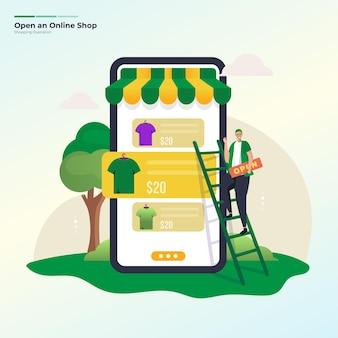 Apertura del concetto di illustrazione del negozio di moda online
