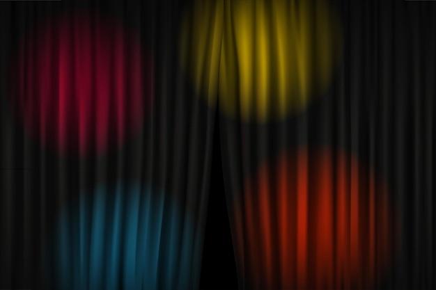 Apertura del sipario con proiettori luminosi. illustrazione vettoriale. modello di spettacolo in piedi
