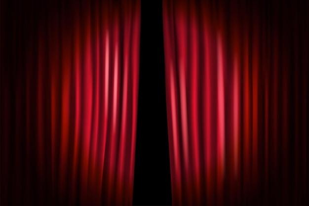 Sipario di apertura con microfono brillante. illustrazione vettoriale. modello di spettacolo in piedi