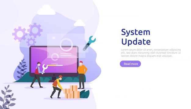 Concetto di progresso dell'aggiornamento del sistema operativo. processo di sincronizzazione dei dati e programma di installazione.