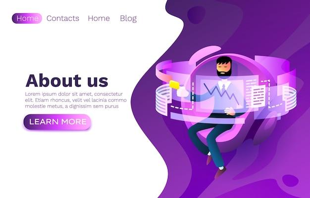 Sviluppatore del lavoro dell'operatore, processo sul posto di lavoro del sito web, infografica display