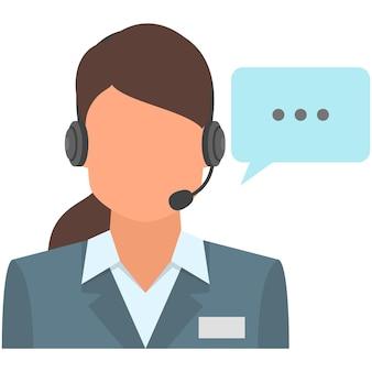Icona di supporto del servizio di call center di vettore dell'operatore