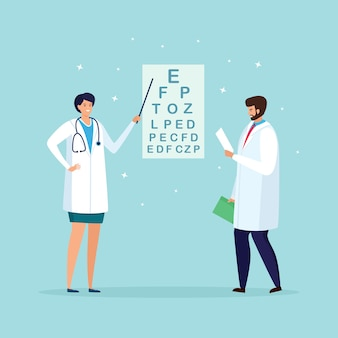L'oftalmologo controlla la vista del paziente. test ottico degli occhi, esame della vista ottica. optometrista controlla la visione dell'occhio. esame oftalmologico in ospedale. disegno del fumetto