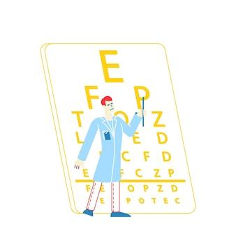 Occhio di miopia della prova del carattere del medico dell'oftalmologo