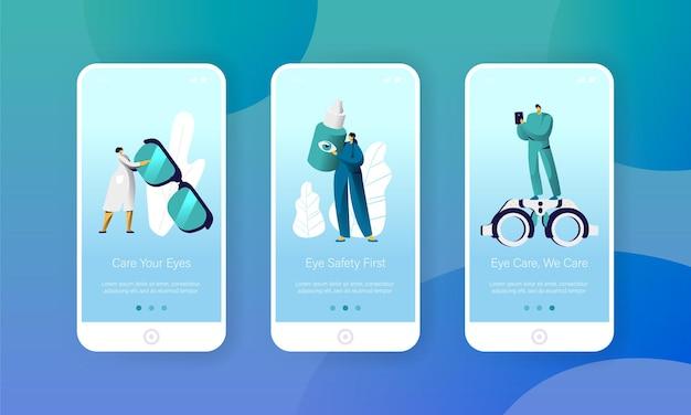 Set di schermi integrati per la pagina dell'app mobile per la salute degli occhi del medico dell'oftalmologo.