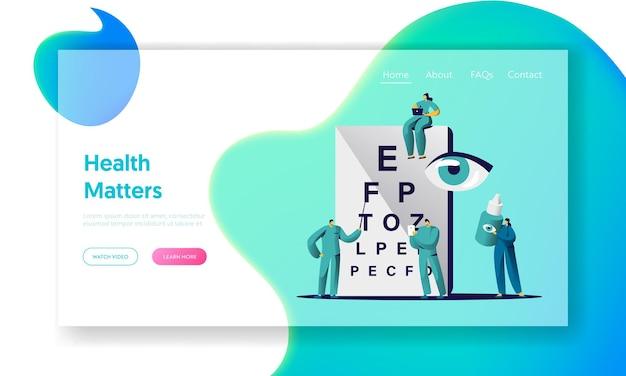 Pagina di destinazione della vista dell'occhio del controllo medico dell'oftalmologo.