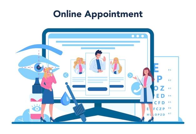 Servizio o piattaforma online di oftalmologo. idea di esame della vista e trattamento.