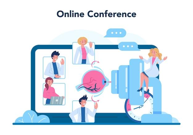 Servizio online oftalmologo o illustrazione della piattaforma