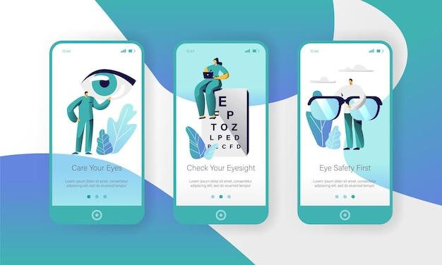 Oftalmologia doctor test eyesight on text board mobile app page onboard screen set.