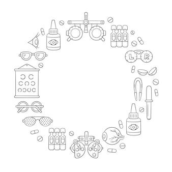 Insieme disegnato a mano di oftalmologia. lenti a contatto, bulbo oculare, occhiali, forottero e altro ancora. optometria doodle oggetti a forma di anello. illustrazione vettoriale su sfondo bianco