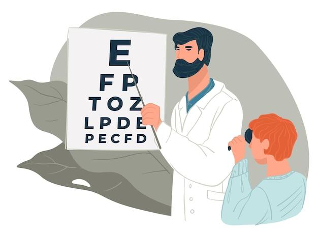 Oftalmologia e assistenza sanitaria, medico che controlla la vista del bambino che mostra le lettere a bordo. controllo del bambino, della vista e del trattamento in clinica. aiuto di oculista professionista. appuntamento dal dottore vettore
