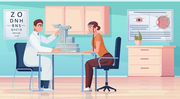 Composizione piana nel servizio medico di oftalmologia con il medico che esamina il paziente nell'illustrazione della clinica