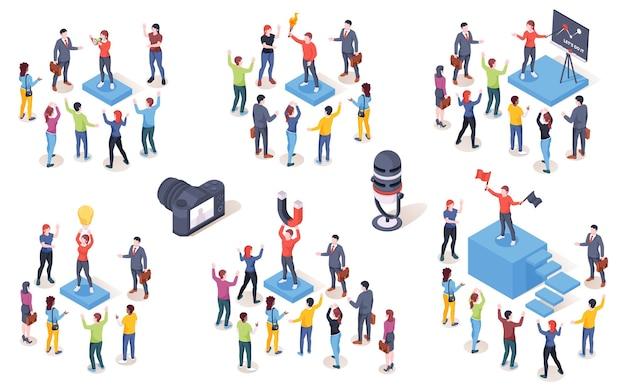 Opinion leader, influencer del pubblico, isometrico. la campagna di marketing del marchio e i social media smm influenzano il concetto creativo. leader di opinione che guida i clienti delle persone con magnete e lampada idea