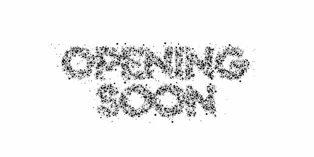 Apertura presto progettazione calligrafica dell'illustrazione di vettore del testo di stile 3d.