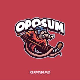 Modello di logo della mascotte di opossum