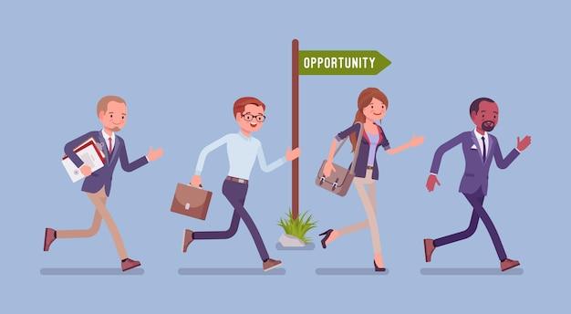 Opportunità, gli uomini d'affari corrono per opportunità di lavoro o promozione
