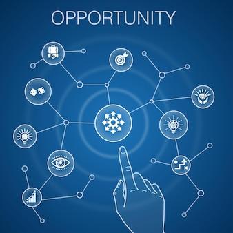 Concetto di opportunità, sfondo blu. possibilità, affari, idea, icone di innovazione