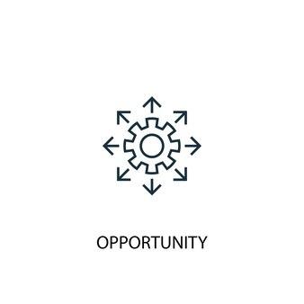 Icona della linea del concetto di opportunità. illustrazione semplice dell'elemento. disegno di simbolo di contorno del concetto di opportunità. può essere utilizzato per ui/ux mobile e web