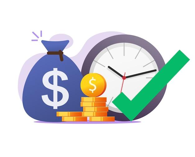 Opportunità momento giusto momento per fare o guadagnare denaro concetto di vettore