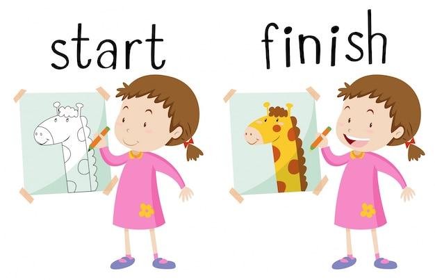 Carta di parole di fronte per iniziare e finire