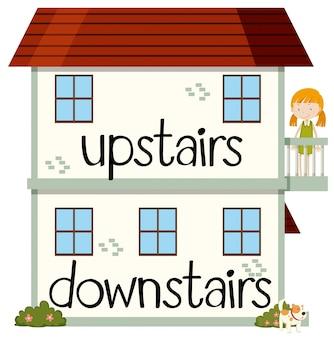 Di fronte alla wordcard per al piano di sopra e al piano di sotto