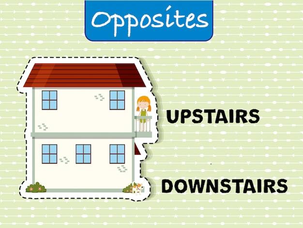 Parole opposte per al piano di sopra e al piano di sotto