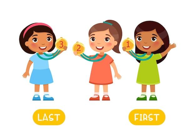 Concetto di opposti first e last word card per l'apprendimento della lingua inglese flashcard con contrari