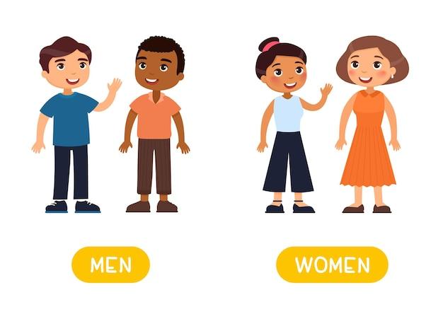 Opposti concetto uomini e donne carta di parole per l'apprendimento della lingua inglese flashcard con contrari