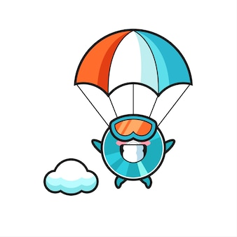 Il fumetto della mascotte del disco ottico sta facendo paracadutismo con un gesto felice, un design in stile carino per maglietta, adesivo, elemento logo