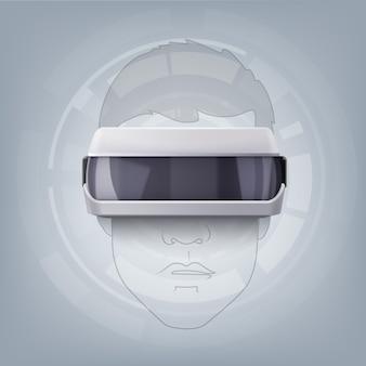Display ottico montato sulla testa o occhiali per realtà virtuale sulla vista frontale della testa umana al tratto