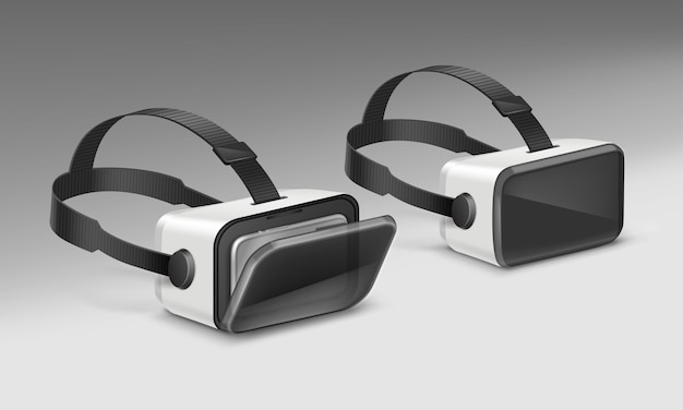 Display ottico montato sulla testa o occhiali per realtà virtuale in prospettiva isolata su sfondo bianco