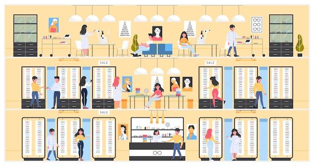 Interno della stanza del deposito di ottica. occhiali da vista per uomo e donna. bancone, mensole con bicchieri e trattamento oftalmologico. la gente compra nuovi occhiali. illustrazione