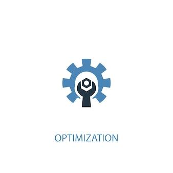 Concetto di ottimizzazione 2 icona colorata. illustrazione semplice dell'elemento blu. design del simbolo del concetto di ottimizzazione. può essere utilizzato per ui/ux mobile e web