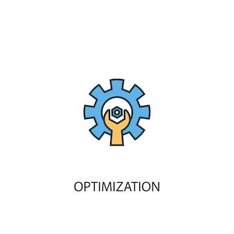 Concetto di ottimizzazione 2 icona linea colorata. illustrazione semplice dell'elemento giallo e blu. disegno del simbolo del contorno del concetto di ottimizzazione