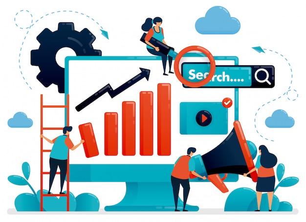 Ottimizza seo con l'illustrazione di concetto di strategie di pubblicità e pianificazione