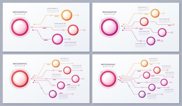 Opzioni disegni infografici, grafici strutturali, modelli di presentazione
