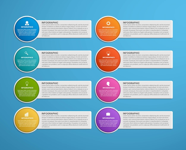 Opzioni infografica, sequenza temporale, modello di progettazione.